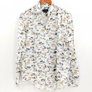 Zara Safari Tiger Print Button Down Shirt
